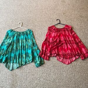 Red and green blouse pair w/bell sleeves